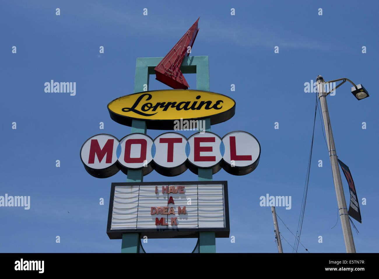 Lorraine Motel sign in Memphis, with 'I have a dream' written on it, site of Martin Luther King's assassination. Stock Photo