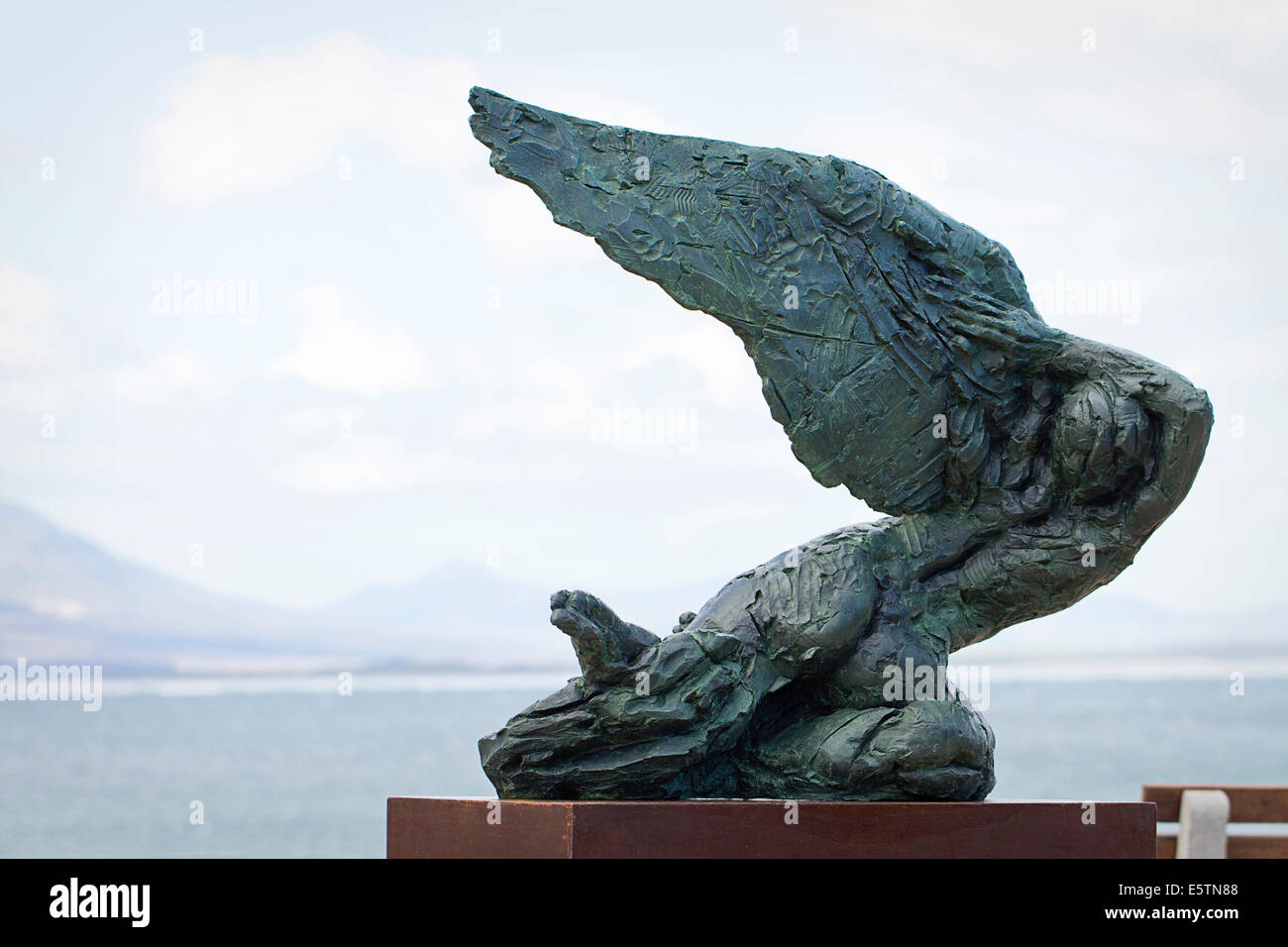 Bronze angel sculpture, Hermanus, South Africa - Stock Image