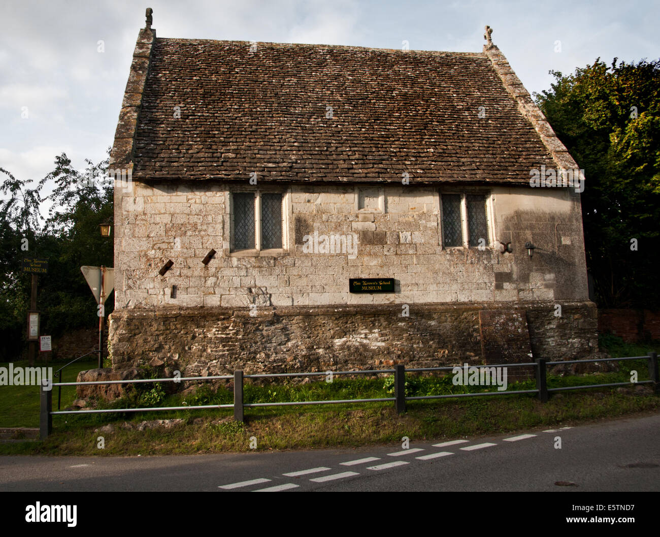The village school attended by Thomas Hughes, author of 'Tom Brown's School Days', Uffington, Oxfordshire, UK Stock Photo
