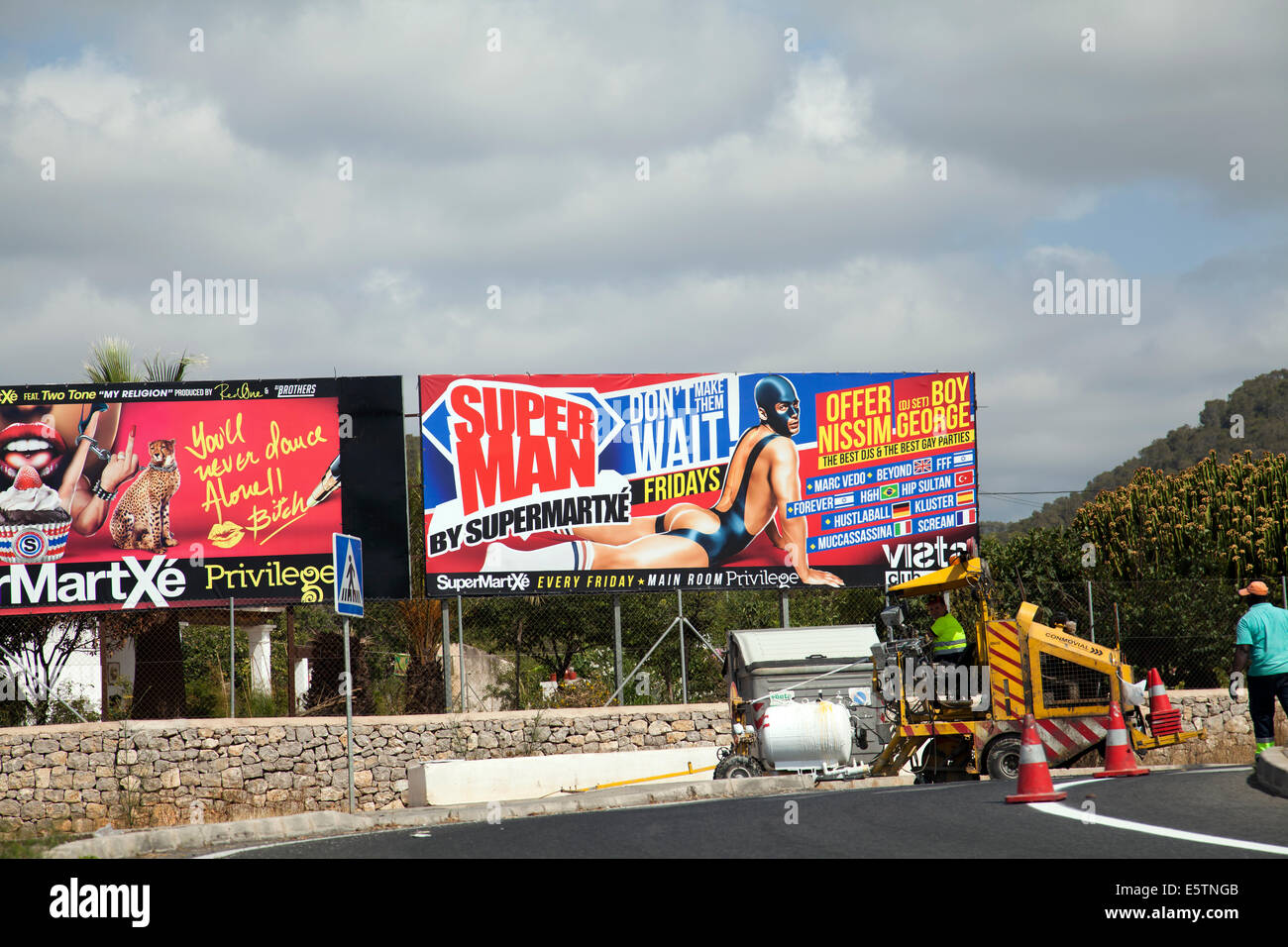 Billboards fro Privilege Club Nights in Ibiza - Stock Image