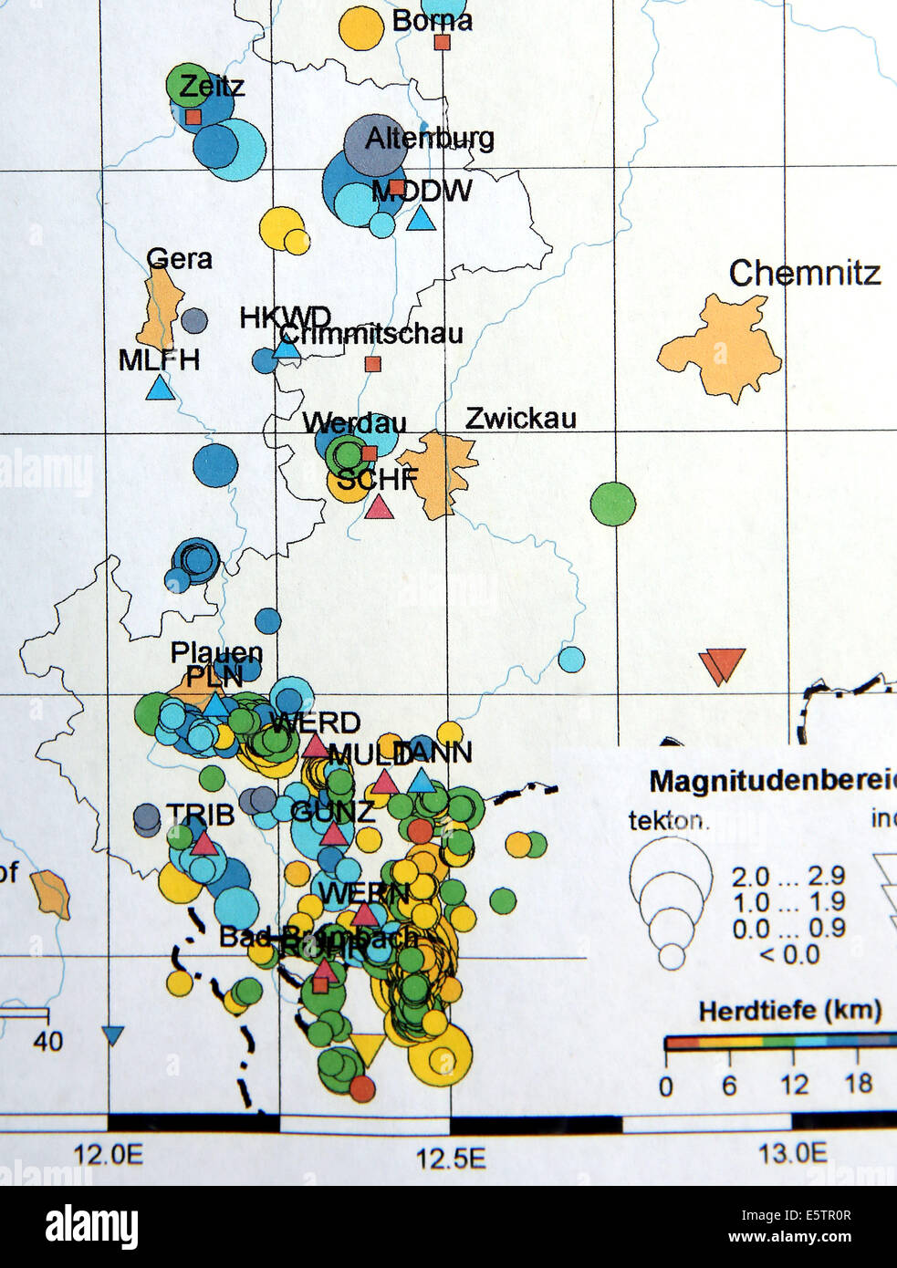 A map produced by the GeoPhysical Observatory of Leipzig University