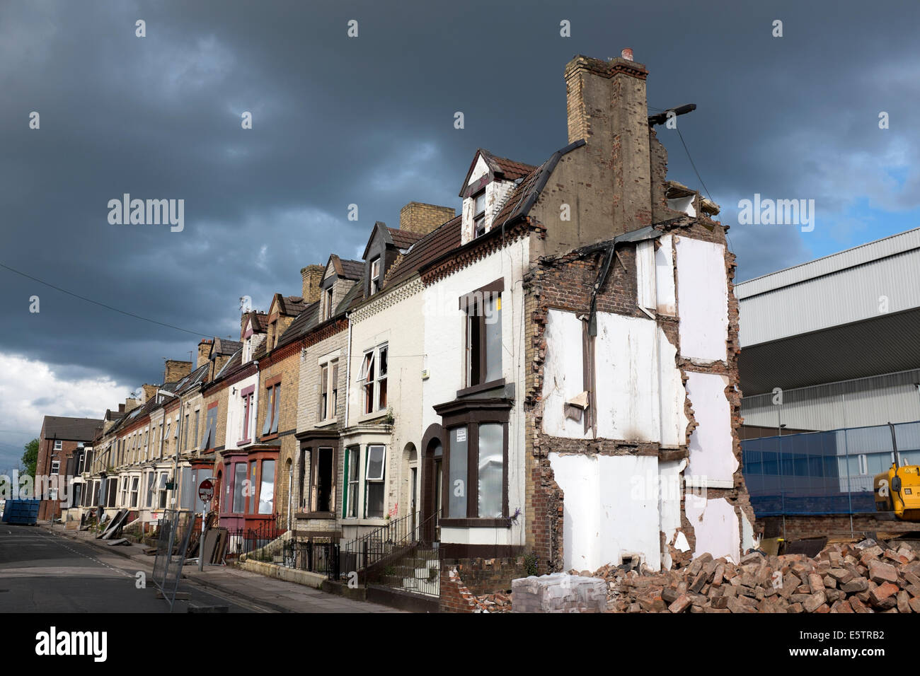 Old terraced houses demolition being demolished urban clearance - Stock Image