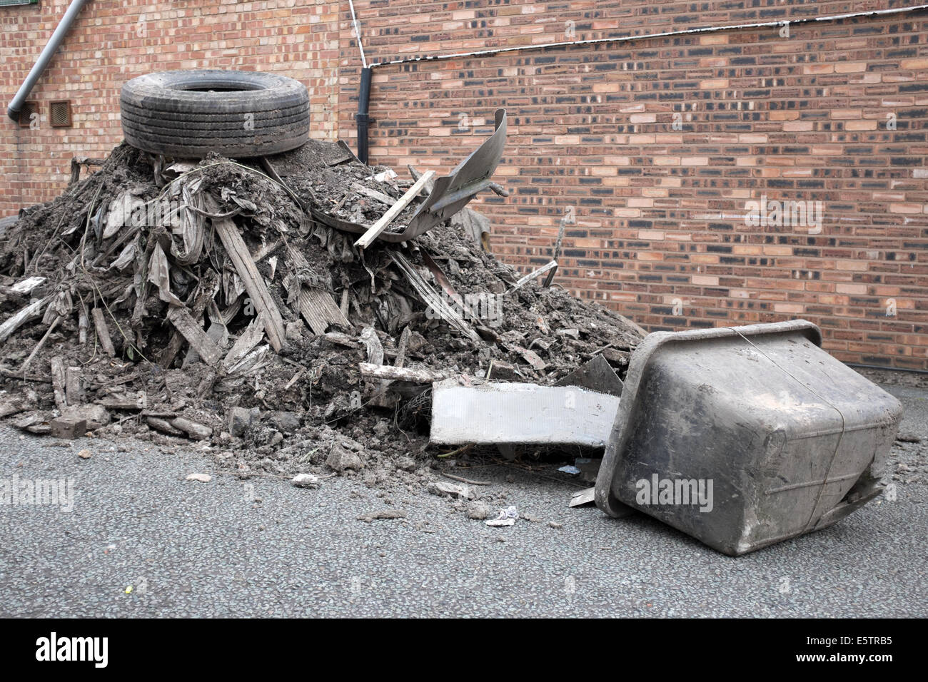 Fly Tipping Waste Rubbish Illegal Disposal Dumping - Stock Image