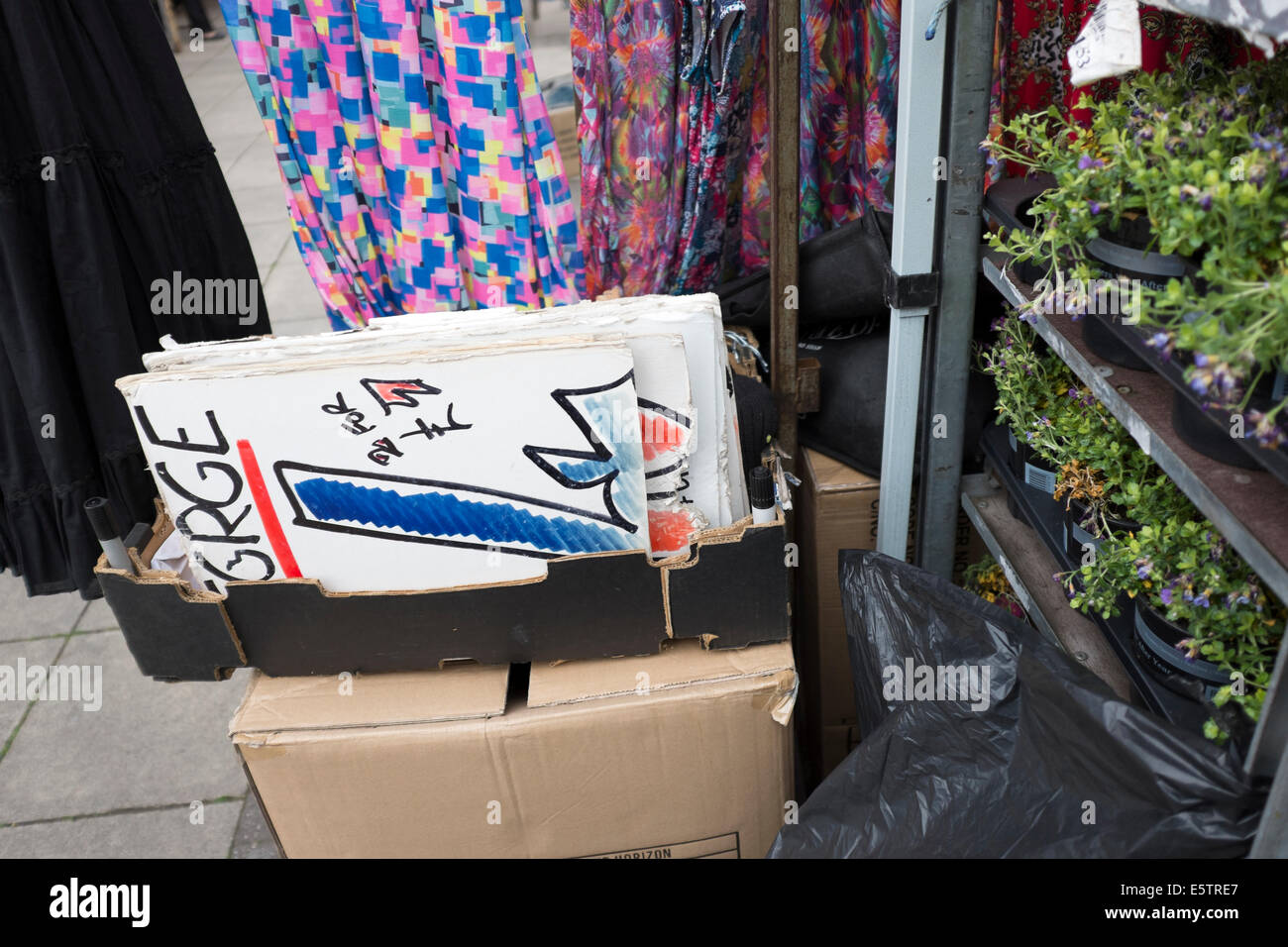 Price Signs Street Market Stall Booth Selling hand written - Stock Image