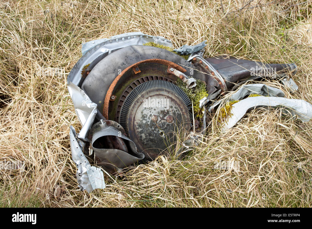 Engine Components from a B-24H Liberator Bomber serial no 42-95095 which crashed13th June 1945 Fairy Lochs Sheildaig - Stock Image