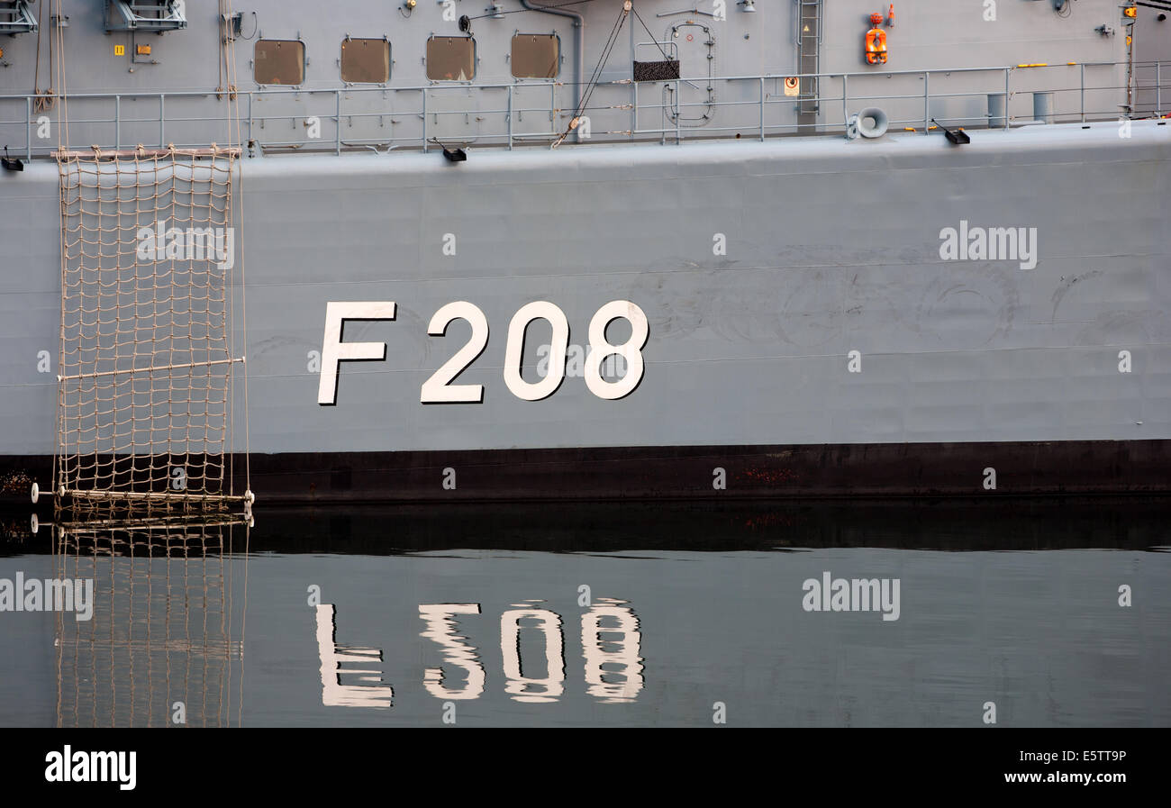 HALIFAX, CANADA - AUG 02, 2014: Niedersachsen (F 208). There are eight F122 Bremen-class frigates for the German - Stock Image