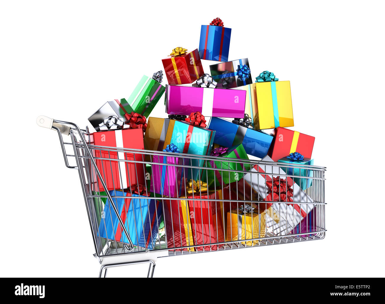 Supermarket trolley full of many multicolored gifts. Side view, on white background. Clipping path included. - Stock Image