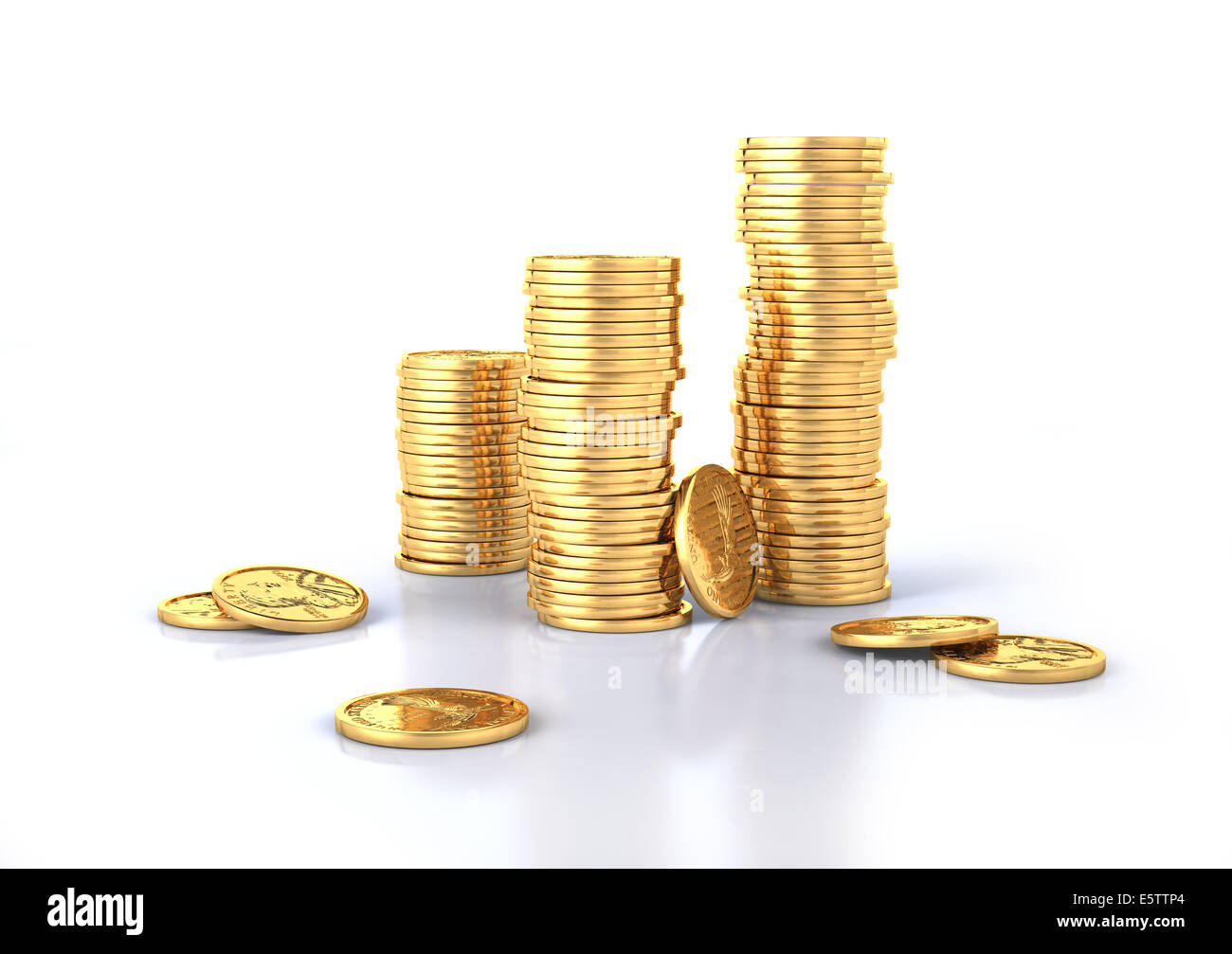 Gold dollar coins stacks and a few lose on a white surface, slightly reflective. White background. - Stock Image