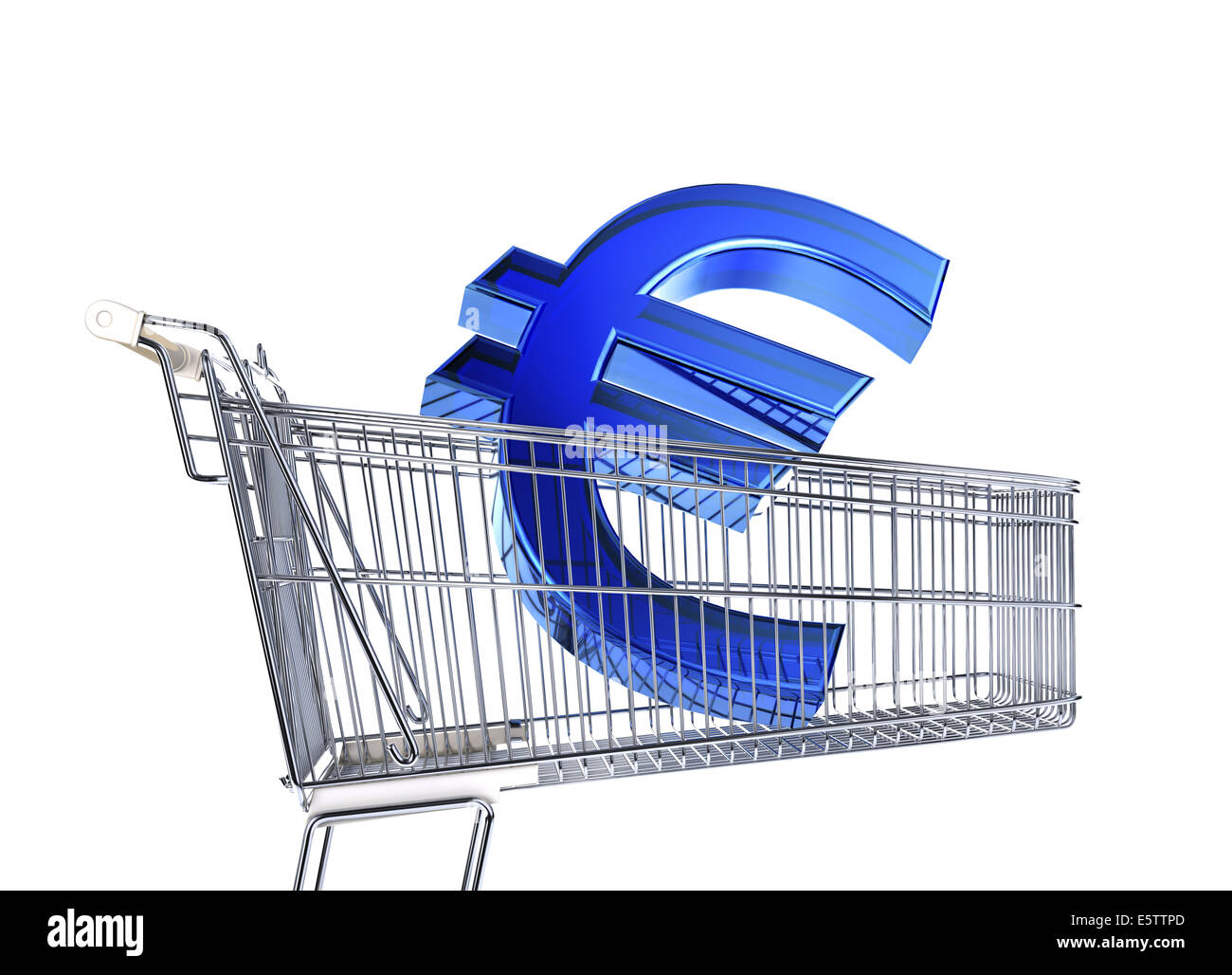 Supermarket trolley with big Euro sign inside it. Side view on white background. - Stock Image