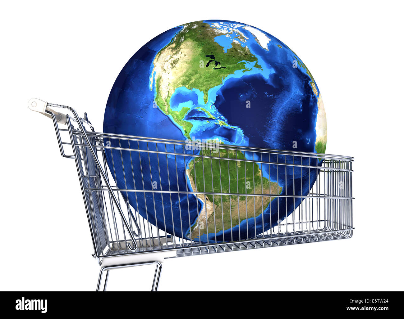Planet Earth into supermarket trolley. Americas view. On white background. Clipping path included. - Stock Image