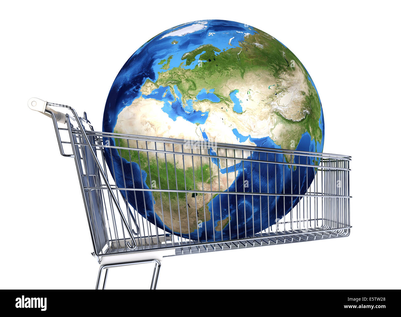 Planet Earth into supermarket trolley. Africa, Europe and Asia view. On white background. clipping path included. - Stock Image