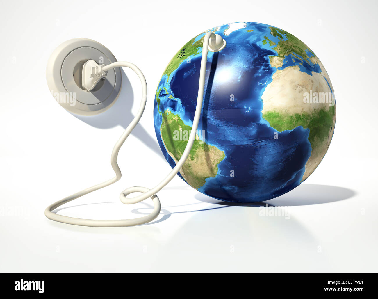 Planet Earth with electric cable, plug and socket. On white surface and white background. - Stock Image