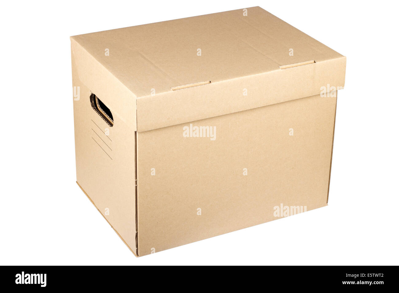 Closed cardboard box isolated on a white background. - Stock Image