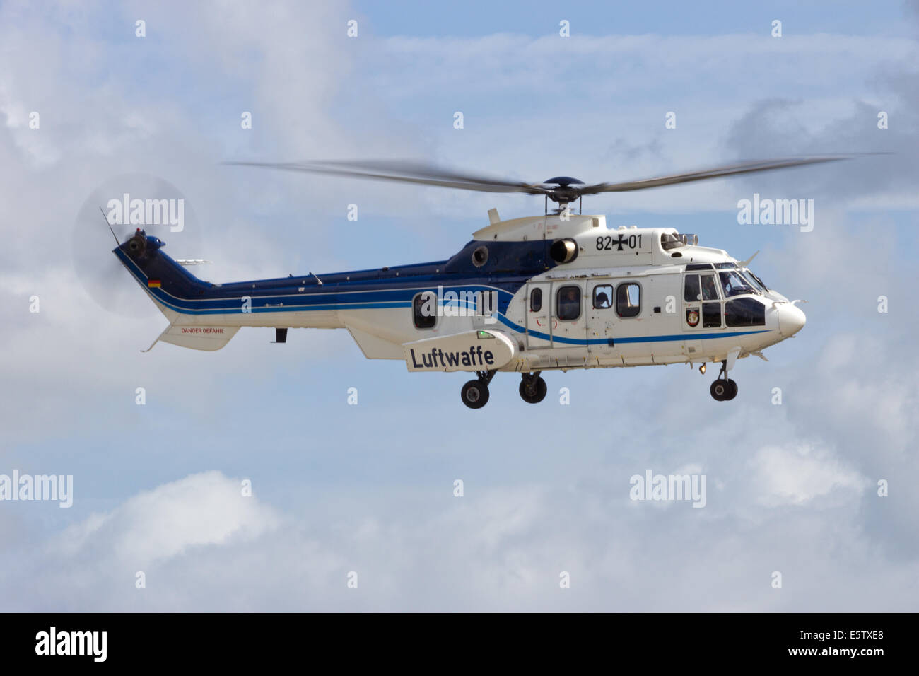 German Air Force Eurocopter AS-532 Cougar helicopter flying. - Stock Image