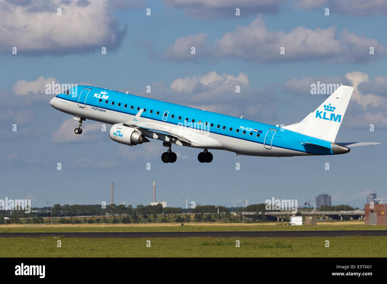 KLM Embraer ERJ-190 taking off from Schiphol airport - Stock Image