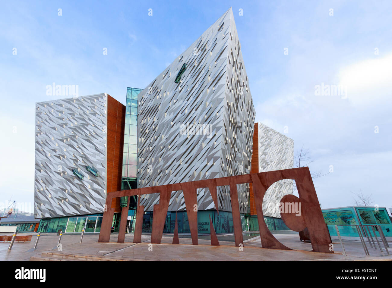 The Titanic visitor attraction and a monument in Belfast, Northern Ireland. - Stock Image
