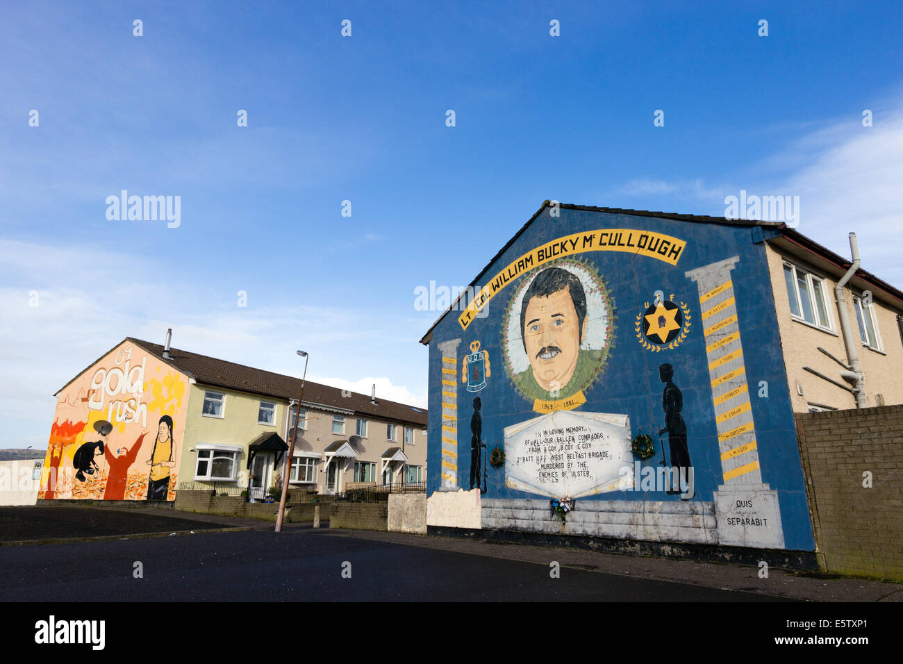 Loyalist mural in the Lower Shankill commemorating William 'Bucky' McCullough. - Stock Image