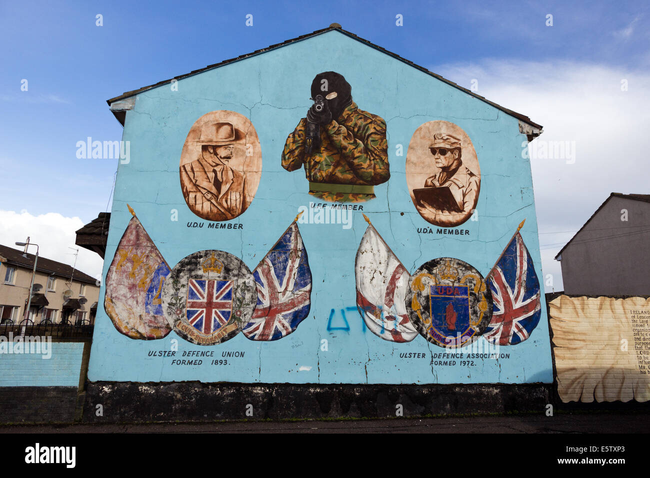 Mural in Protestant Shankill Road area of Belfast, Northern Ireland. - Stock Image