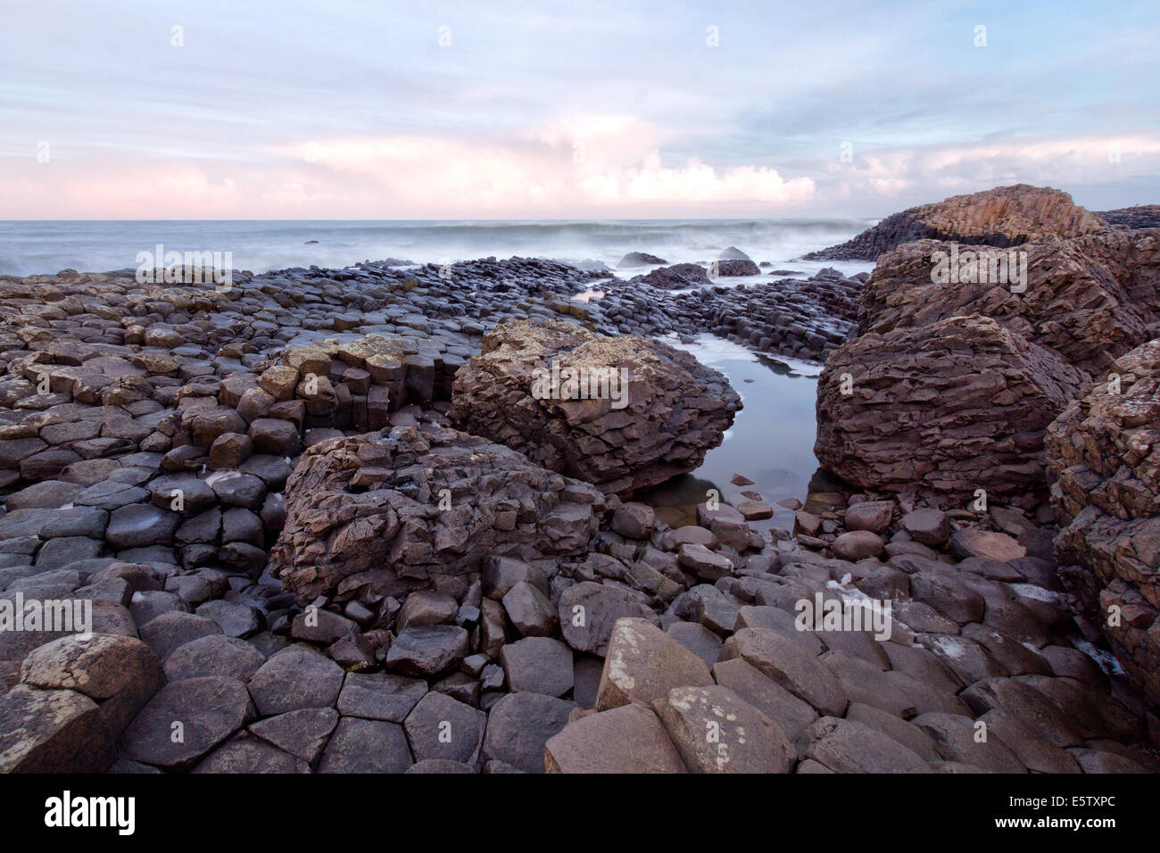 Sunrise at the Giants Causeway, Northern Ireland - Stock Image
