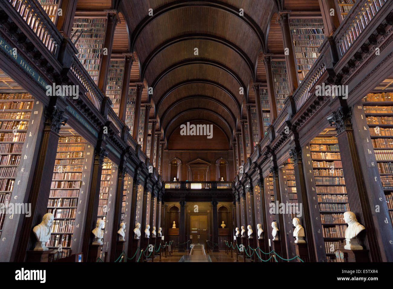 The Long Room in the Trinity College Library in Dublin, Ireland. - Stock Image