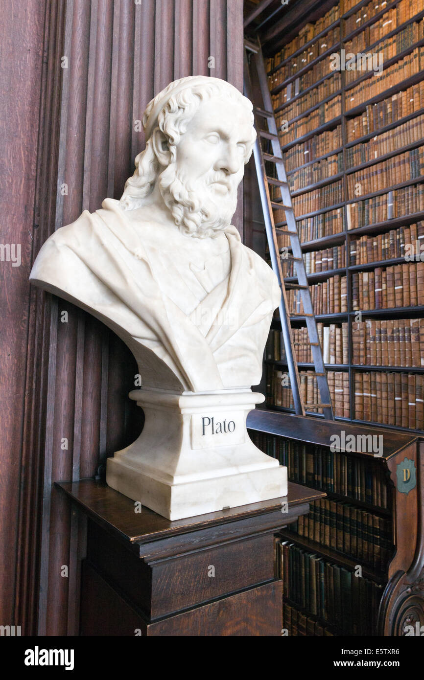 Head sculpture of Plato in the Long Room in the Trinity College Library. - Stock Image