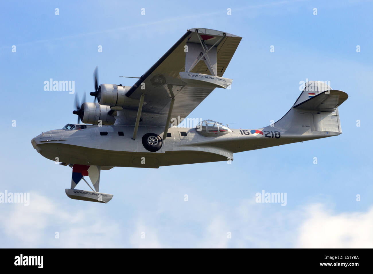 Consolidated PBY Catalina in Dutch Navy colors flying. - Stock Image