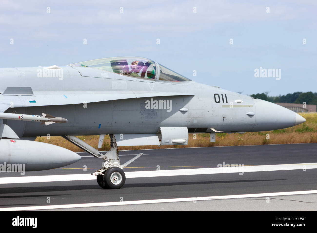 Swiss Air Force F/A-18C Hornet at the NATO Tigermeet on June 23rd, 2014 in Schleswig, Germany. - Stock Image