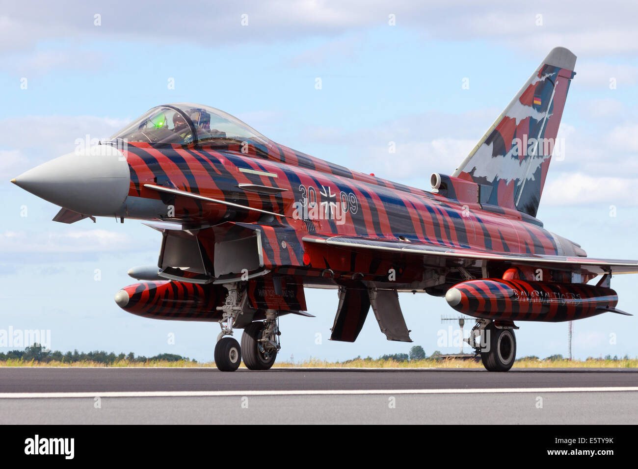 Special painted German Air Force Eurofighter at the NATO Tigermeet on June 23rd, 2014 in Schleswig Jagel airbase - Stock Image