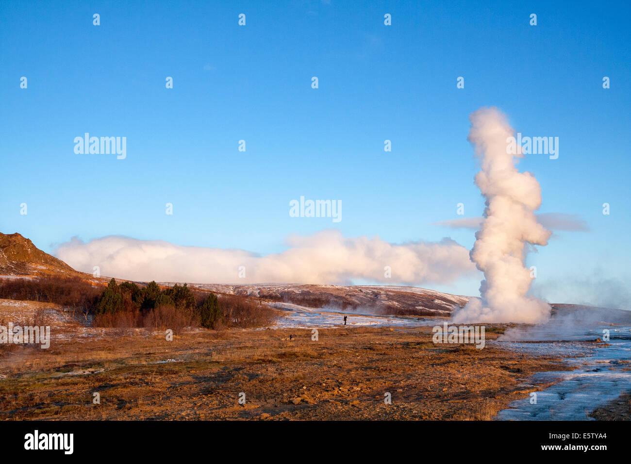 Geyser in Iceland erupting at dawn - Stock Image
