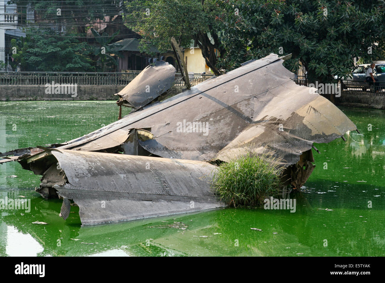Wreckage of an American B-52 bomber in Huu Tiep Lake, Hanoi, Vietnam. The plane was shot down by a Vietnamese SAM missile during Stock Photo