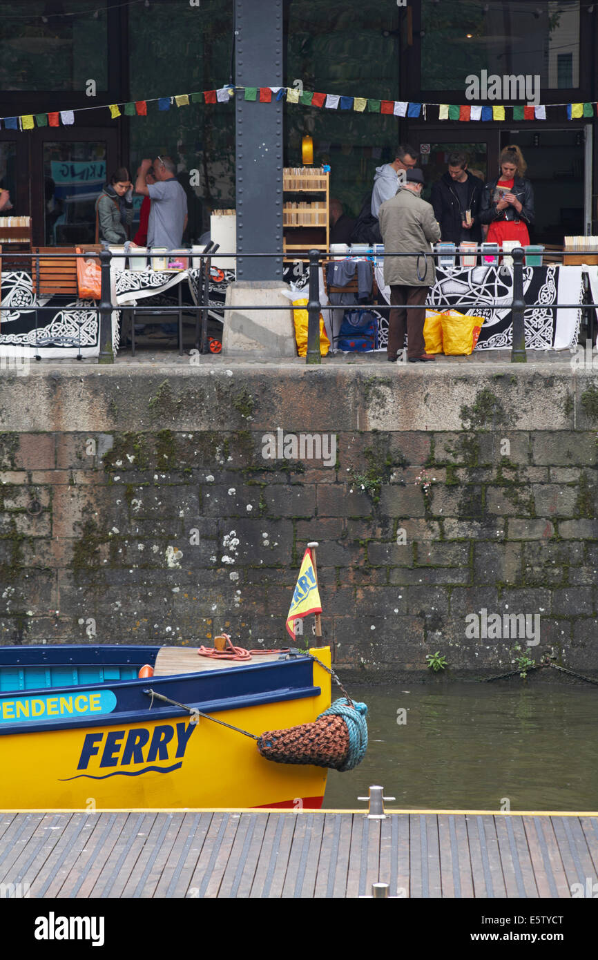 Bristol's Ferryboats Independence ferry with market behind at Bristol in May - Stock Image