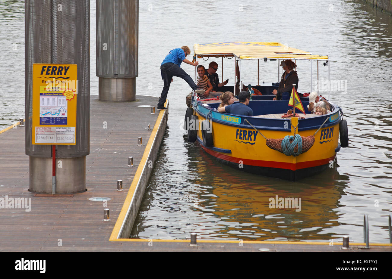 Bristol's Ferryboats - taking a ride on the Independence ferry along the River Avon at Bristol in May - Stock Image