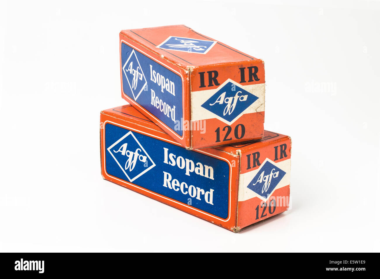 Rolls of Agfa Isopan Record 120 film dated 1970 - high speed 1000-1200 ASA - Stock Image