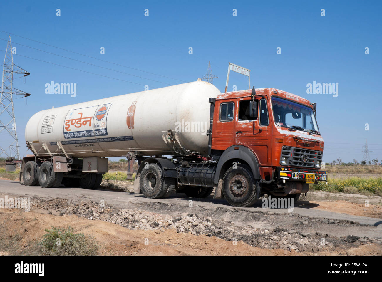 Liquid Propane Gas tanker truck, owned by Indian Oil, on the