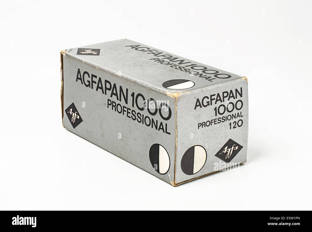 A boxed roll of 120 Agfapan 1000 - high speed 1000 ASA film dated 1970 - Stock Image