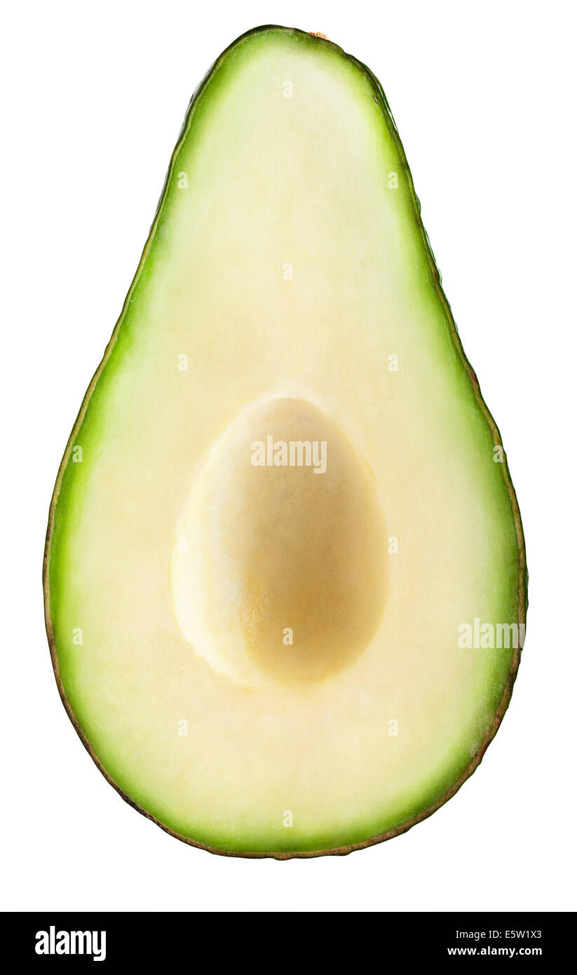 Avocado slice isolated on a white background. Clipping Path - Stock Image