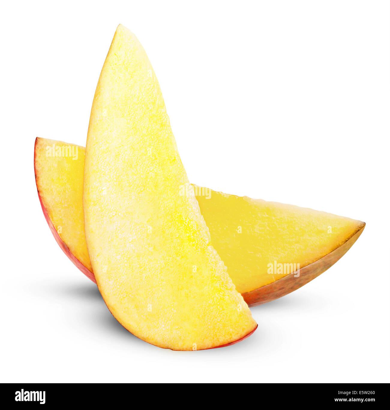 Mango slice isolated on white background. Clipping Path - Stock Image