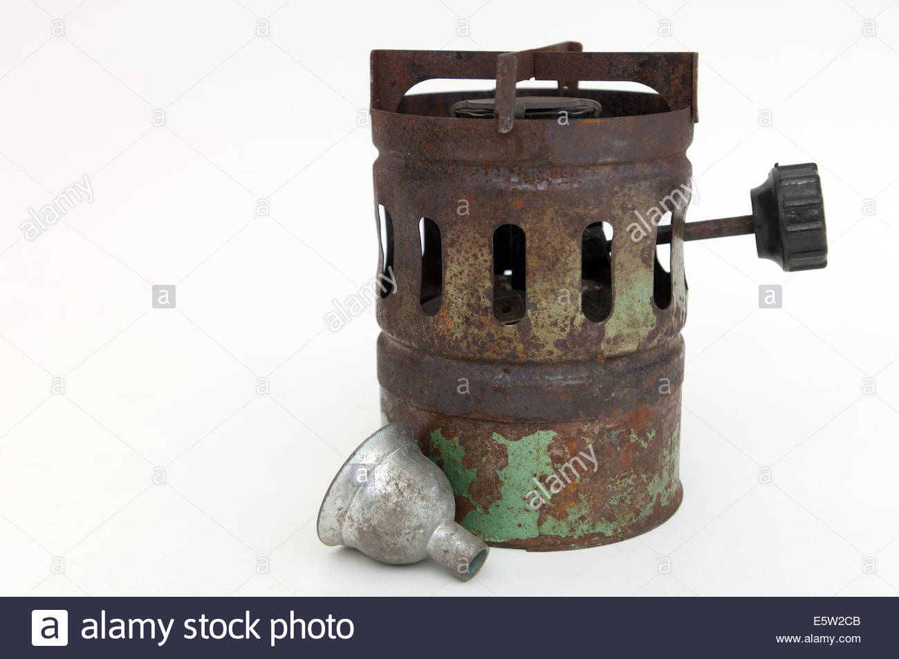 old stove on white background - Stock Image