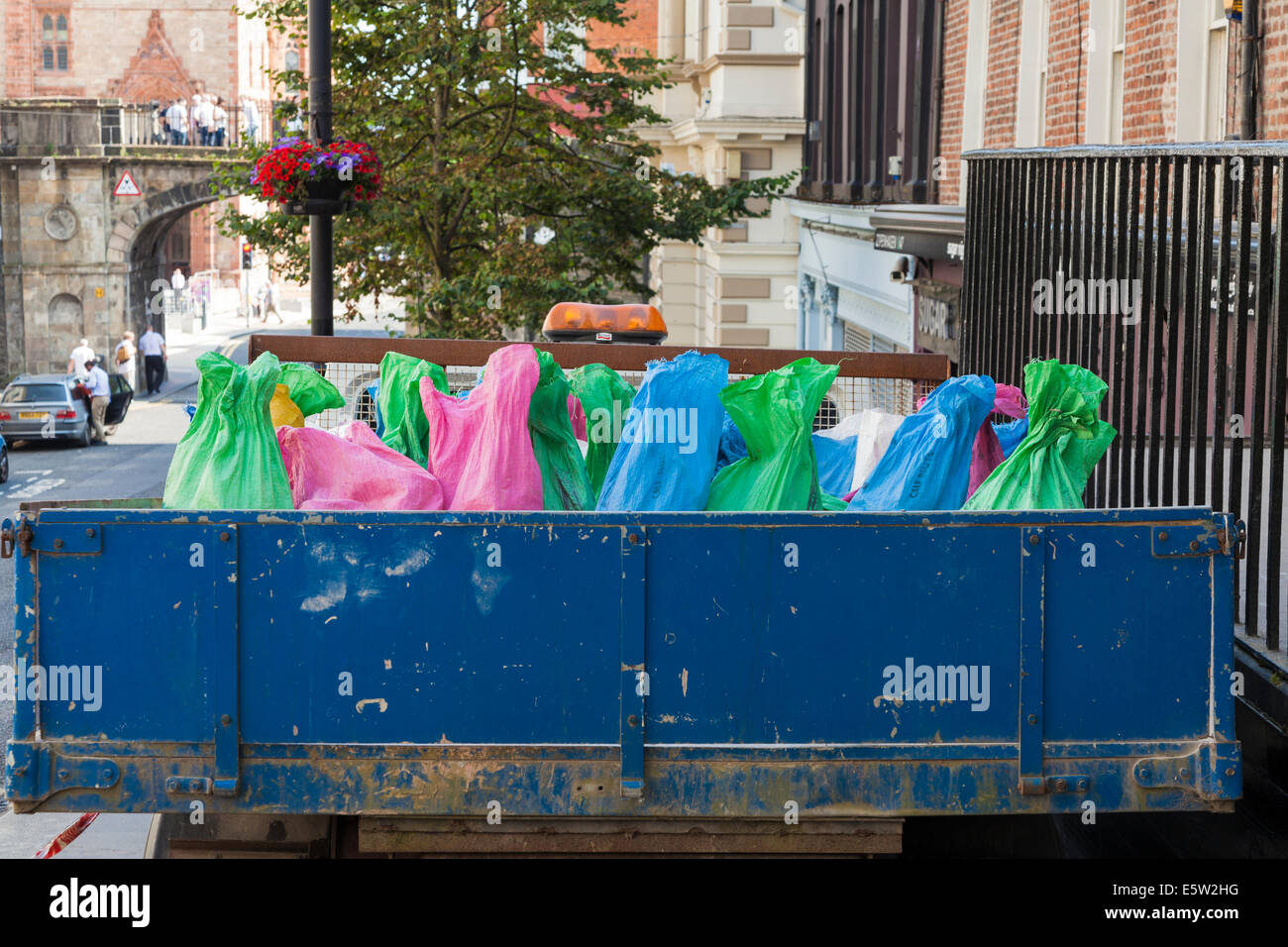 Coloured sacks on a lorry - Stock Image