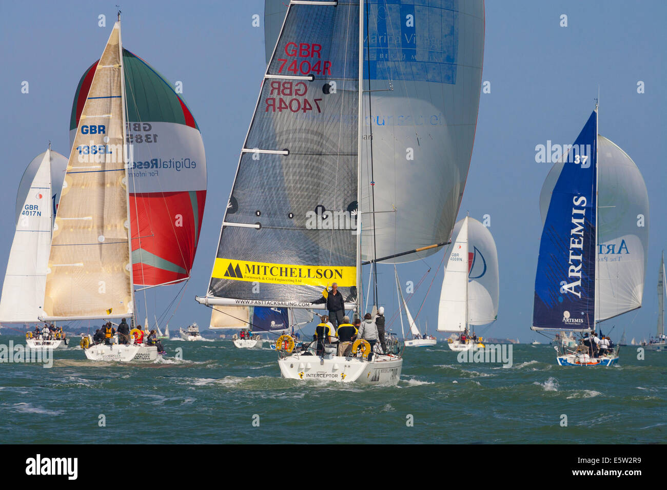 Cowes, Isle of Wight, England, UK. 6th August, 2014. Glorious sunshine today at Cowes Week.  Since 1826 Cowes Week - Stock Image