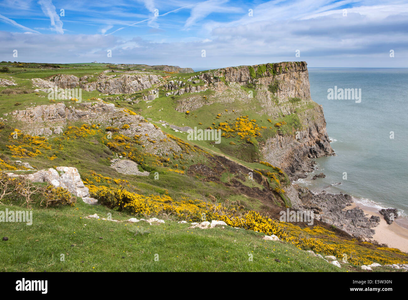 UK, Wales, Swansea, Gower, Rhossili, Swansea Bay Coast at Fall Bay - Stock Image