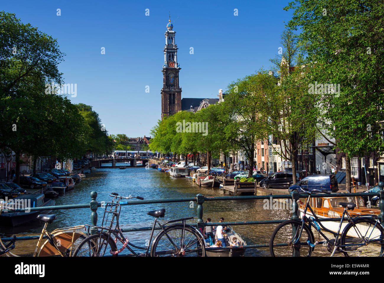Westerkerk on Prinsengracht Canal, Amsterdam, Holland Stock Photo