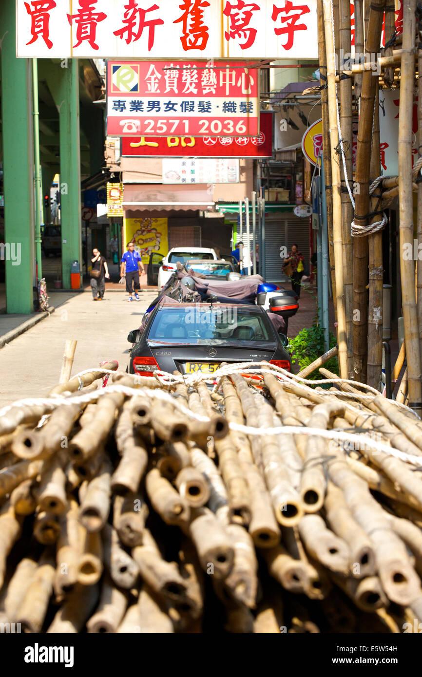 Bound Bundles Of Bamboo Scaffolding, Hong Kong. - Stock Image