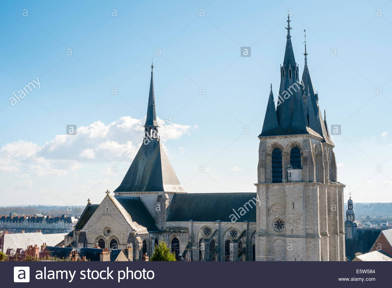 Three spires of Eglise St-Nicolas church, Blois, Loire-et-Cher, Centre, France - Stock Image