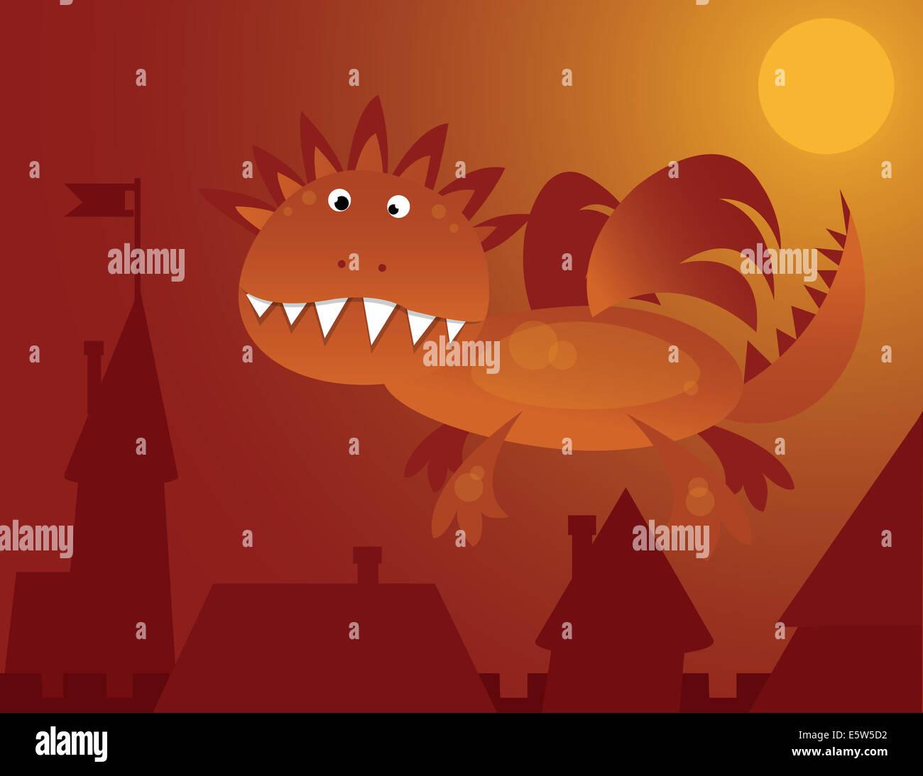 orange dragon flying over the city - Stock Image