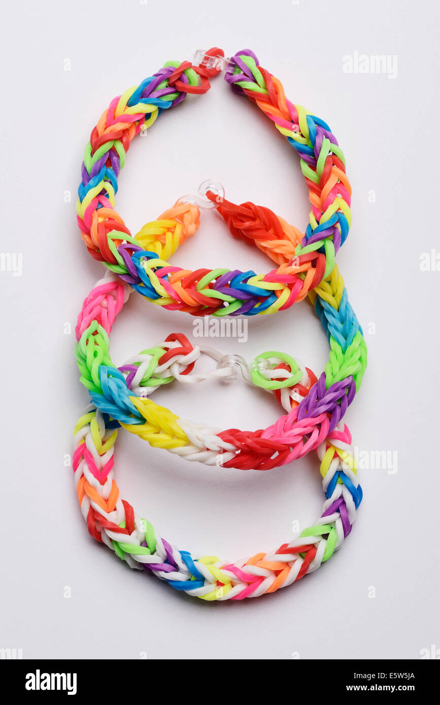 Three colourful loom bands bracelets - Stock Image