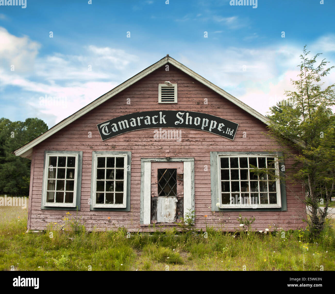 The old Tamarack Theater, later the Tamerack Shoppe, now vacant, near Lake Pleasant in the Adirondack State Park - Stock Image