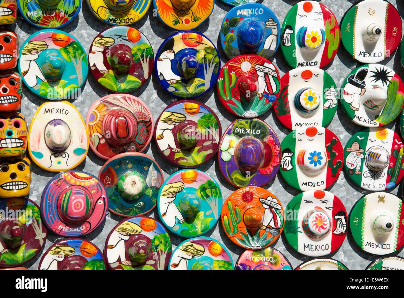 Small china sombreros  tourist stall Chichen Itza Yucatan Mexico - Stock Image