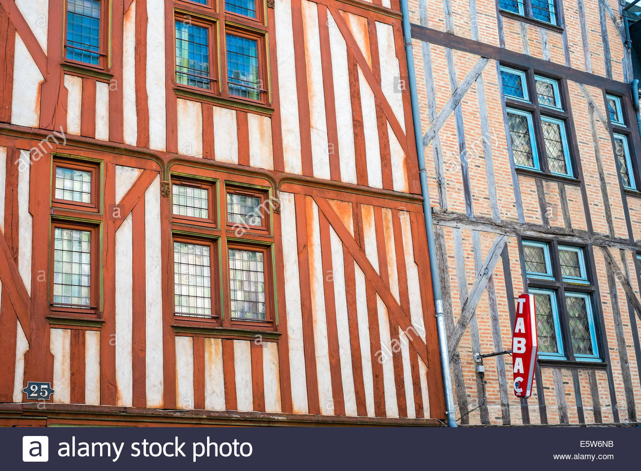 Old wooden half-timbered houses, Tours, Indre-et-Loire, Centre, France - Stock Image