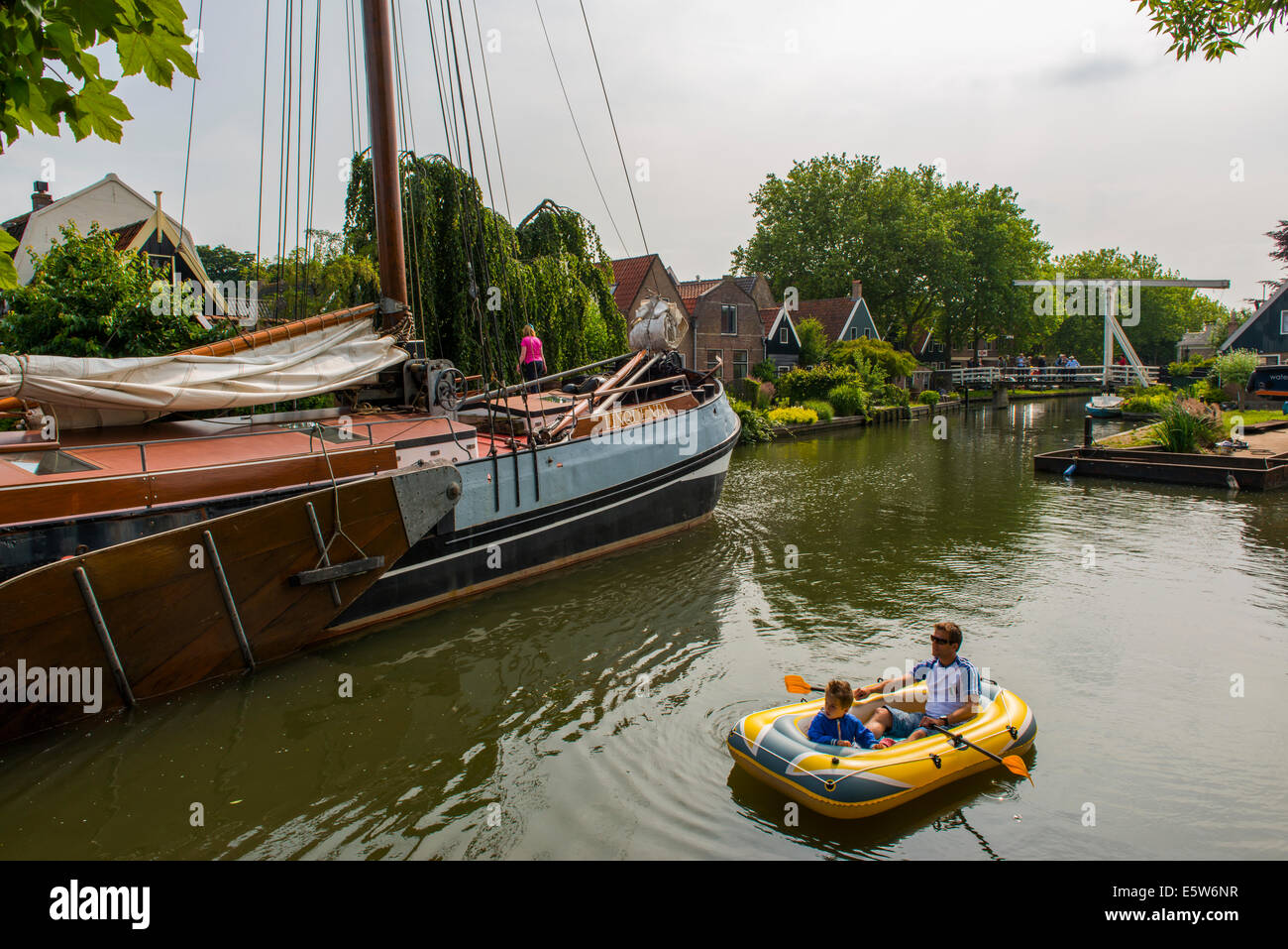 Edam Canal, Edam, Holland, Netherlands - Stock Image